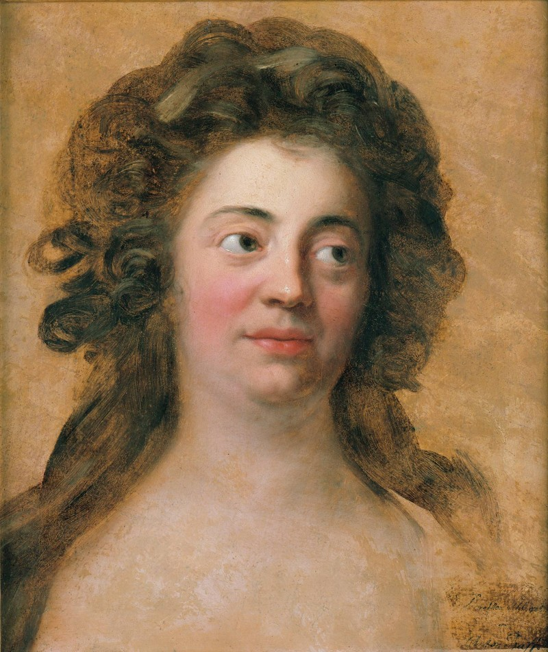 The loose, unbound hairstyle affected by the Jewish banker's daughter as she sits for her portrait betokens her bold temperament.  Anton Graff, Dorothea Schlegel (then called Brendel Veit), around 1770 © bpk / Nationalgalerie, SMB.