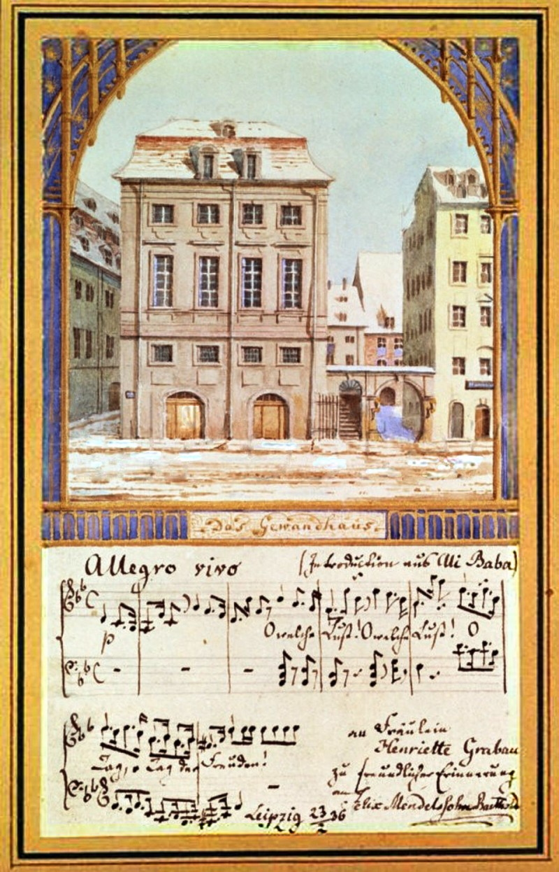 "Leipzig's first Gewandhaus Concert Hall (until 1884), along with sheet music from Luigi Cherubini's opera ""Ali Baba or the Forty Thieves,"" which the newly appointed conductor performed at his premiere concert on October 4th, 1835.  Felix Mendelssohn Bartholdy, Das Alte Leipziger Gewandhaus, 1836, Library of Congress, Washington D.C."