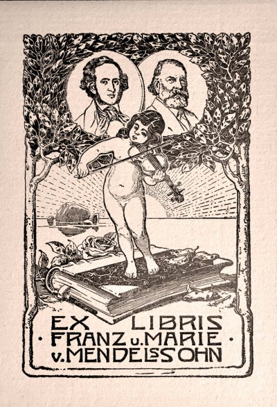 The ex libris label used by Franz and Marie von Mendelssohn, featuring the portraits of the family friend Joseph Joachim (right) and of Felix Mendelssohn Bartholdy. Image: private collection.